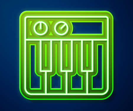 Glowing neon line Music synthesizer icon isolated on blue background. Electronic piano. Vector