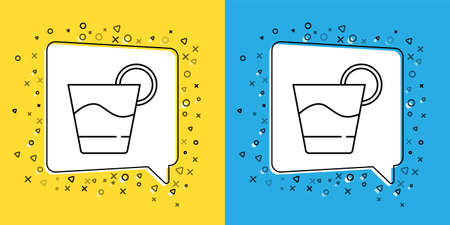 Set line Cocktail icon isolated on yellow and blue background. Vector