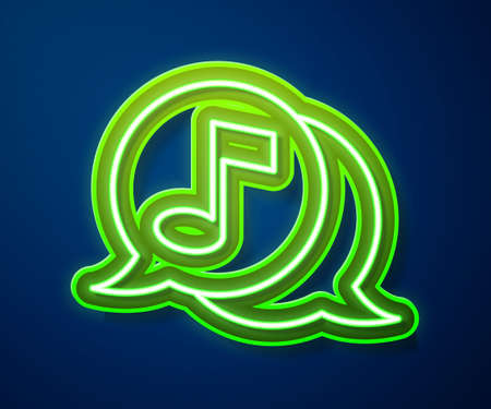 Glowing neon line Musical note in speech bubble icon isolated on blue background. Music and sound concept. Vector Ilustracja