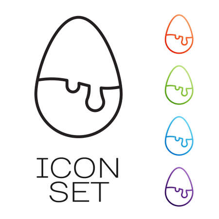 Black line Chocolate egg icon isolated on white background. Set icons colorful. Vector