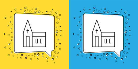 Set line Church building icon isolated on yellow and blue background. Christian Church. Religion of church. Vector Çizim