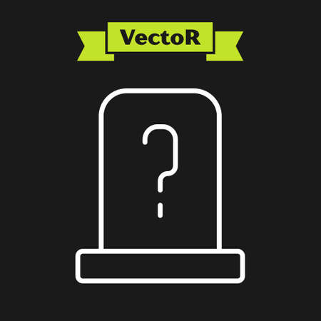 White line Grave with tombstone icon isolated on black background. Vector 矢量图像