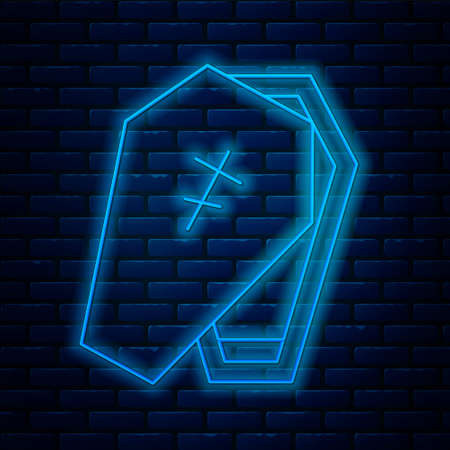Glowing neon line Coffin with christian cross icon isolated on brick wall background. Happy Halloween party. Vector