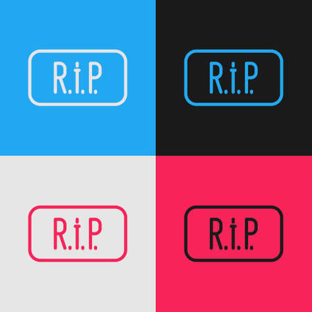 Pop art line Speech bubble rip death icon isolated on color background. Vector
