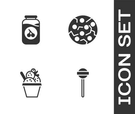Set Lollipop, Cherry jam jar, Ice cream in bowl and Cookie or biscuit icon. Vector
