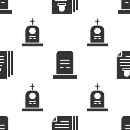 Set Death certificate, Grave with tombstone and Grave with tombstone on seamless pattern. Vector