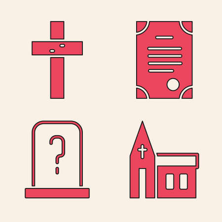 Set Church building, Christian cross, Death certificate and Grave with tombstone icon. Vector