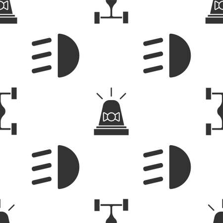 Set Chassis car, Flasher siren and High beam on seamless pattern. Vector