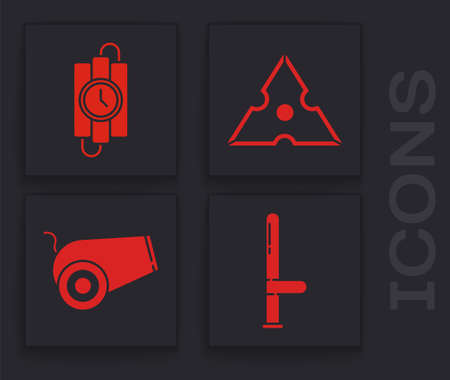 Set Police rubber baton, dynamite stick and timer clock, Japanese ninja shuriken and Cannon icon. Vector