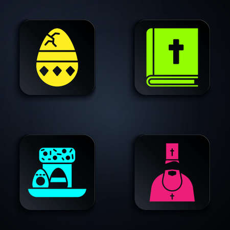 Set Priest, Cracked egg, Easter cake and eggs and Holy bible book. Black square button. Vector