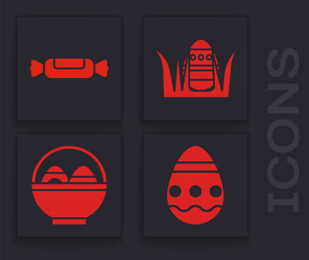 Set Easter egg, Candy, Easter egg and Basket with easter eggs icon. Vector