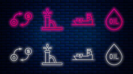 Set line Oil pump or pump jack, Oil tanker ship, Oil exchange and Oil drop. Glowing neon icon on brick wall. Vector