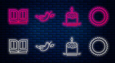Set line Peace dove with olive branch, Easter cake and candle, Holy bible book and Sun. Glowing neon icon on brick wall. Vector