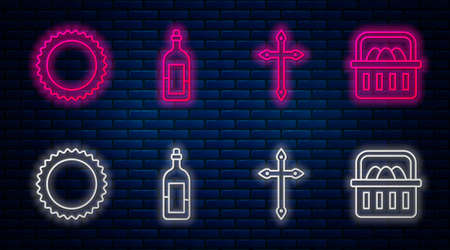 Set line Bottle of wine, Christian cross, Sun and Basket with easter eggs. Glowing neon icon on brick wall. Vector