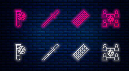 Set line Pipette, Pills in blister pack, Test tube with virus and Virus spread. Glowing neon icon on brick wall. Vector Vettoriali