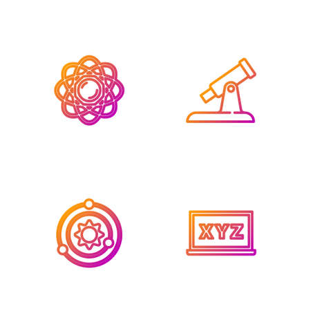 Set line XYZ Coordinate system, Solar, Atom and Telescope. Gradient color icons. Vector