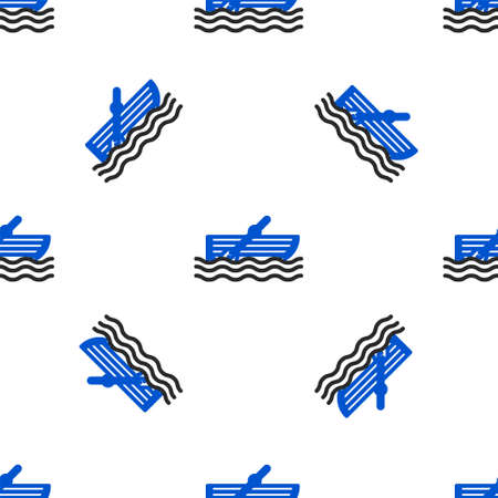 Line Fishing boat with oars on water icon isolated seamless pattern on white background. Colorful outline concept. Vector Ilustração