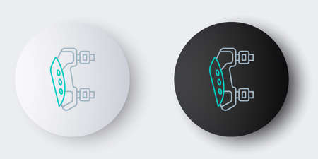 Line Knee pads icon isolated on grey background. Extreme sport. Sport equipment. Skateboarding, bicycle, roller skating protective gear. Colorful outline concept. Vector