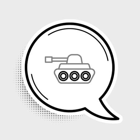 Line Military tank icon isolated on grey background. Colorful outline concept. Vector Illusztráció
