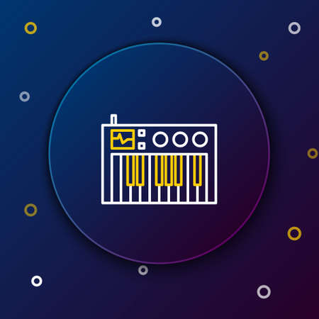 Line Music synthesizer icon isolated on blue background. Electronic piano. Colorful outline concept. Vector