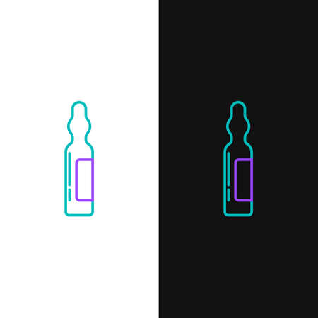 Line Pets vial medical icon isolated on white and black background. Prescription medicine for animal. Colorful outline concept. Vector