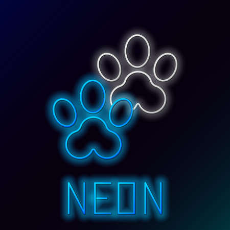 Glowing neon line Paw print icon isolated on black background. Dog or cat paw print. Animal track. Colorful outline concept. Vector Stock Illustratie
