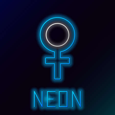 Glowing neon line Female gender symbol icon isolated on black background. Venus symbol. The symbol for a female organism or woman. Colorful outline concept. Vector