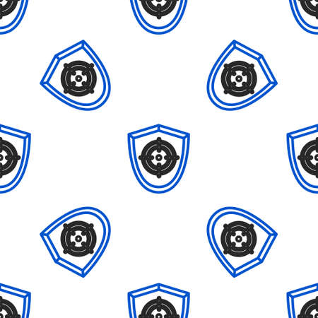 Line Target sport icon isolated seamless pattern on white background. Clean target with numbers for shooting range or shooting. Colorful outline concept. Vector