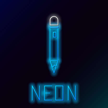 Glowing neon line Pencil with eraser icon isolated on black background. Drawing and educational tools. School office symbol. Colorful outline concept. Vector 向量圖像