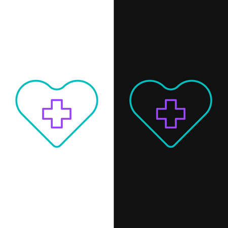 Line Heart with a cross icon isolated on white and black background. First aid. Healthcare, medical and pharmacy sign. Colorful outline concept. Vector Çizim