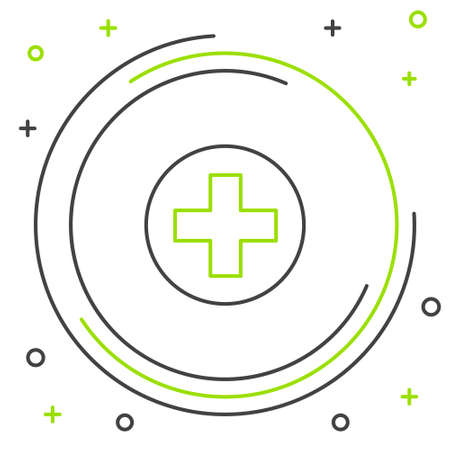 Line Cross hospital medical icon isolated on white background. First aid. Diagnostics symbol. Medicine and pharmacy sign. Colorful outline concept. Vector