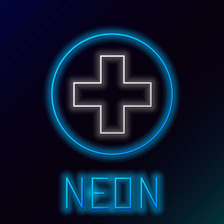 Glowing neon line Cross hospital medical icon isolated on black background. First aid. Diagnostics symbol. Medicine and pharmacy sign. Colorful outline concept. Vector Çizim