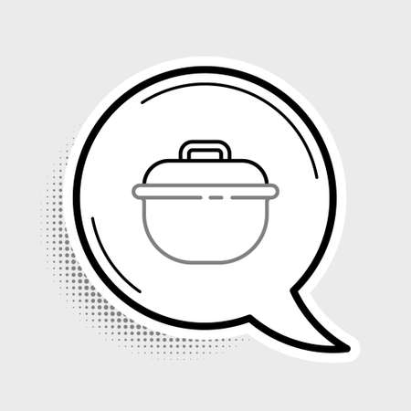 Line Cooking pot icon isolated on grey background. Boil or stew food symbol. Colorful outline concept. Vector