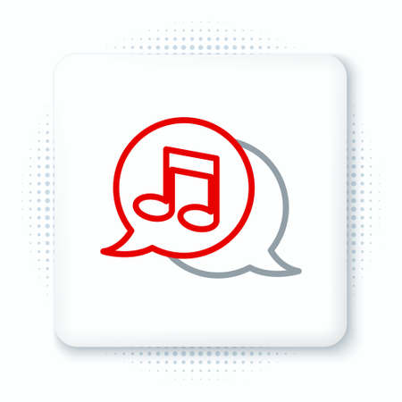 Line Musical note in speech bubble icon isolated on white background. Music and sound concept. Colorful outline concept. Vector