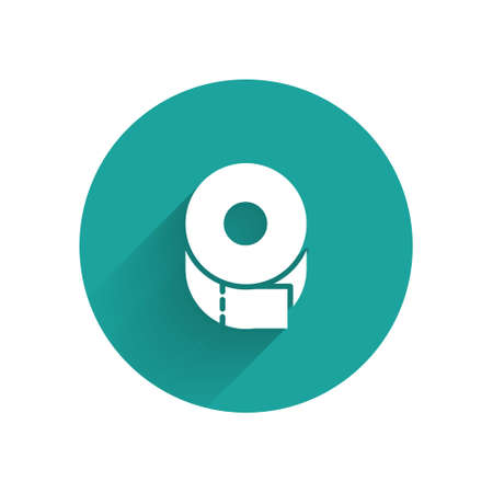 White Toilet paper roll icon isolated with long shadow. Green circle button. Vector Illustration Çizim