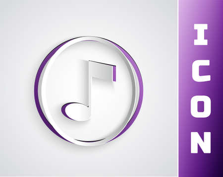 Paper cut Music note, tone icon isolated on grey background. Paper art style. Vector Illusztráció