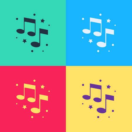 Pop art Music note, tone icon isolated on color background. Vector Illusztráció