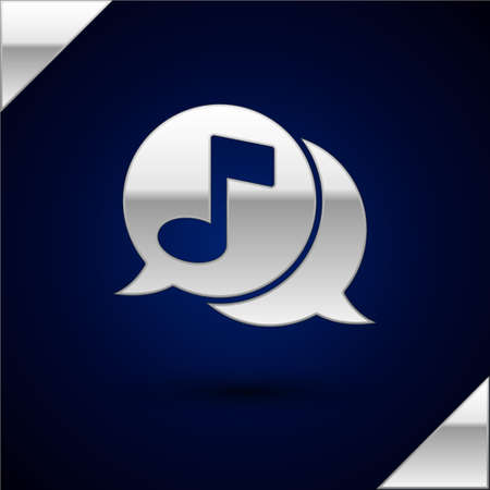 Silver Musical note in speech bubble icon isolated on dark blue background. Music and sound concept. Vector