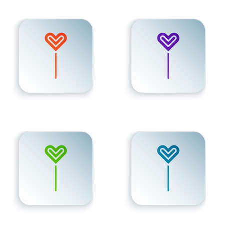 Color Lollipop icon isolated on white background. Food, delicious symbol. Set colorful icons in square buttons. Vector