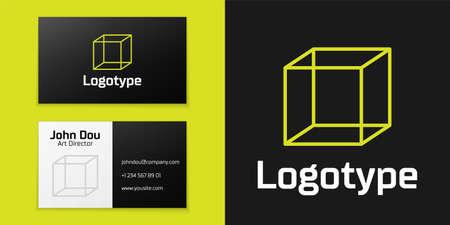 Logotype line Function mathematical symbol icon isolated on black background.