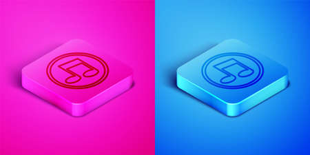 Isometric line Music note, tone icon isolated on pink and blue background. Square button. Vector
