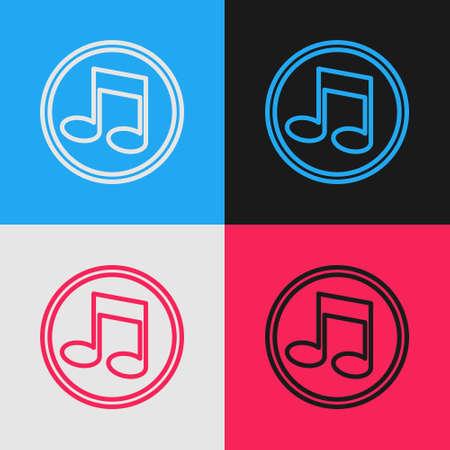 Pop art line Music note, tone icon isolated on color background. Vector Illusztráció