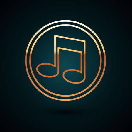 Gold line Music note, tone icon isolated on dark blue background. Vector