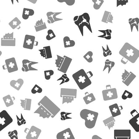 Set Broken tooth, Heart with a cross, First aid kit and Paper towel dispenser on wall on seamless pattern. Vector