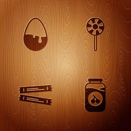 Set Cherry jam jar, Chocolate egg, Sugar stick packets and Lollipop on wooden background. Vector Çizim