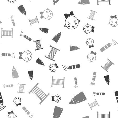 Set Happy little girl head, Baby bottle, Wax crayon for drawing and Baby crib cradle bed on seamless pattern. Vector