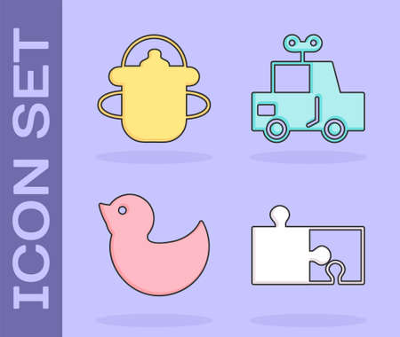 Set Piece of puzzle, Baby bottle, Rubber duck and Toy car icon. Vector