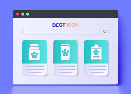 Set Online veterinary clinic symbol, Bag of food for pet and Clipboard with medical clinical record pet icon. Vector