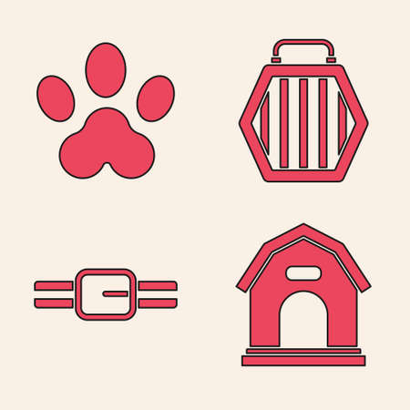 Set Dog house, Paw print, Pet carry case and Collar with name tag icon. Vector