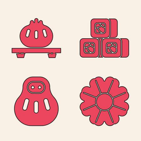 Set Flower, Dumpling on cutting board, Sushi and Maneki neko cat icon. Vector